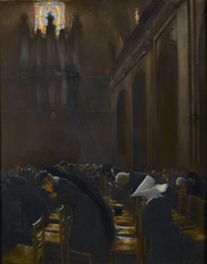 The Elevation of the Host 1890s by Jean Beraud Framed Print on Canvas