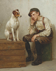 Mutual Admiration 1898 by John George Brown Framed Print on Canvas