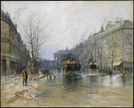 Paris Street Scene 1893 by Frank Boggs Framed Print on Canvas