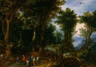 Wooded Landscape with Abraham and Isaac 1599 by Jan Brueghel the Elder Framed Print on Canvas