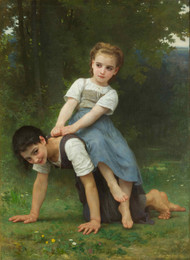 The Horseback Ride 1884 by William Adolph Bouguereau Framed Print on Canvas