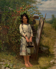 Blackberry Picking 1875 by John George Brown Framed Print on Canvas