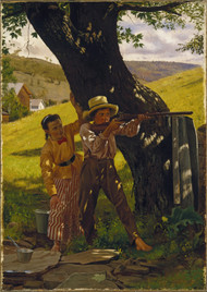 A Sure Shot 1875 by John George Brown Framed Print on Canvas