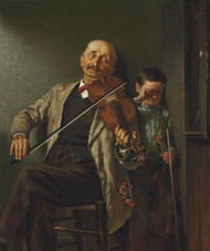 The Duet 1882 by John George Brown Framed Print on Canvas