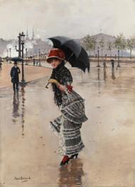 Paris on a Rainy Day 1890s by Jean Beraud Framed Print on Canvas
