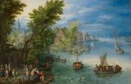River Landscape 1607 by Jan Brueghel the Elder Framed Print on Canvas