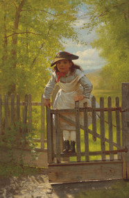 The Tomboy 1873 by John George Brown Framed Print on Canvas