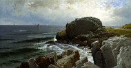 Castle Rock, Marblehead 1878 by Alfred Thompson Bricher Framed Print on Canvas