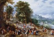 Flemish Fair 1600 by Jan Brueghel the Elder Framed Print on Canvas