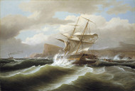 An American Ship in Distress 1841 by Thomas Birch Framed Print on Canvas