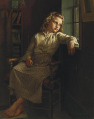 Girl at the Window 1890 by John George Brown Framed Print on Canvas