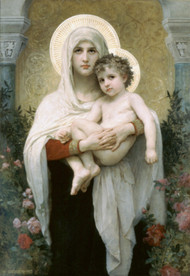 The Madonna of the Roses by William Adolph Bouguereau Framed Print on Canvas