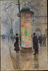 Parisian Street Scene 1885 by Jean Beraud Framed Print on Canvas