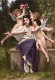 A Dream of Spring 1901 by William Adolph Bouguereau Framed Print on Canvas