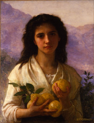 Girl Holding Lemons 1899 by William Adolph Bouguereau Framed Print on Canvas