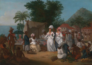 A Linen Market with a Linen-stall and Vegetable Seller in the West Indies 1780 by Agostino Brunias Framed Print on Canvas