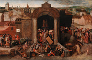 Christ Driving the Traders from the Temple 1569 by Pieter Brueghel the Elder Framed Print on Canvas