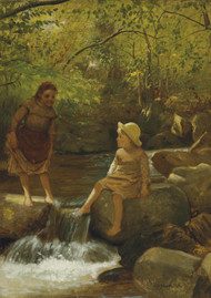 Cooling Their Toes by John George Brown Framed Print on Canvas