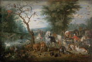 Paradise Landscape with Animals 1613 by Jan Brueghel the Elder Framed Print on Canvas