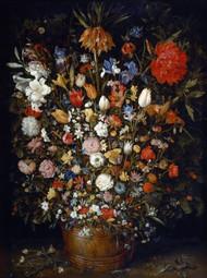 Flowers in a Wooden Vessel 1606 by Jan Brueghel the Elder Framed Print on Canvas