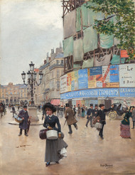 Paris, rue du Havre 1882 by Jean Beraud Framed Print on Canvas