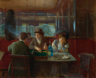 Backgammon at the Cafe 1908 by Jean Beraud Framed Print on Canvas