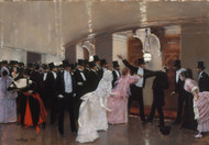 An Argument in the Corridors of the Opera 1889 by Jean Beraud Framed Print on Canvas