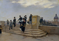 A Windy Day on the Pont des Arts 1880 by Jean Beraud Framed Print on Canvas