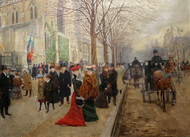 After the Office at the Church of the Holy Trinity 1900 by Jean Beraud Framed Print on Canvas