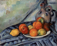 Fruit and a Jug on a Table 1890 by Paul Cezanne Framed Print on Canvas