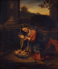 Madonna adoring the Child 1524 by Antonio Allegri Corregio Framed Print on Canvas