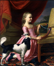 Young Lady with a Bird and a Dog 1767 by John Singleton Copley Framed Print on Canvas