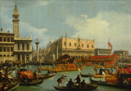 Bucentaur's return to the pier by Canaletto, Framed Print on Canvas