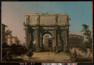 View of the Arch of Constantine with the Colosseum 1742 by Canaletto, Framed Print on Canvas