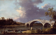 A View of Walton Bridge 1754 by Canaletto, Framed Print on Canvas