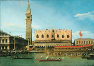 The Bucintoro at the Molo on Ascension Day 1745 by Canaletto, Framed Print on Canvas