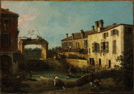 Lock near Dolo 1776 by Canaletto, Framed Print on Canvas