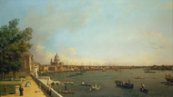 London: The Thames from Somerset House Terrace towards the City 1750 by Canaletto, Framed Print on Canvas