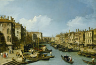 The Grand Canal near the Rialto Bridge, Venice 1728 by Canaletto, Framed Print on Canvas