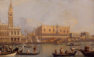 View of the Ducal Palace in Venice by Canaletto, Framed Print on Canvas