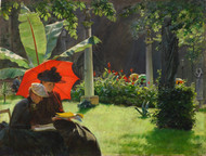 Afternoon in the Cluny Garden, Paris 1889 by Charles Courtney Curran Framed Print on Canvas