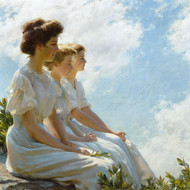 On the Heights 1909 by Charles Courtney Curran Framed Print on Canvas