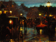 Paris at Night 1889 by Charles Courtney Curran Framed Print on Canvas