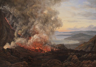 Eruption of the Volcano Vesuvius 1821 by Johan Christian Claussen Dahl Framed Print on Canvas