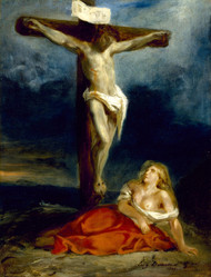 Saint Mary Magdalene at the Foot of the Cross 1829 by Eugene Delacroix Framed Print on Canvas