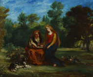 The Education of the Virgin 1852 by Eugene Delacroix Framed Print on Canvas
