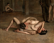 The Wrestlers 1899 by Thomas Eakins Framed Print on Canvas