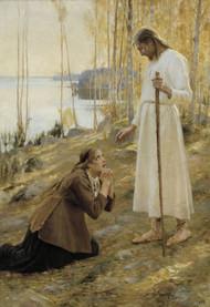 Christ and Mary Magdalene 1890 by Albert Edelfelt Framed Print on Canvas