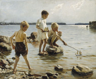 Boys Playing on the Shore / Children Playing on the Shore 1894 by Albert Edelfelt Framed Print on Canvas