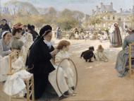 The Luxembourg Gardens, Paris 1887 by Albert Edelfelt Framed Print on Canvas